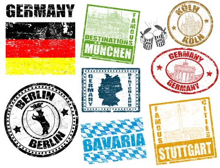 germany map: Set of grunge stamps with Germany, vector illustration Illustration