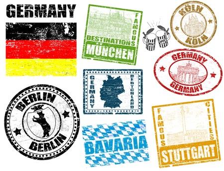 Zestaw grunge znaczków z Niemiec, ilustracji wektorowych