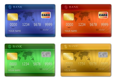 debit card: Set of color credit card, vector illustration