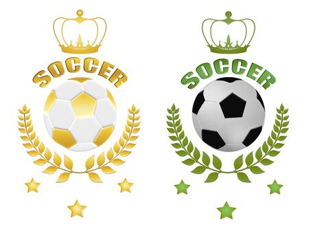 Two soccer balls (Classic and Golden) with laurel, crow and stars, vector illustration Vector