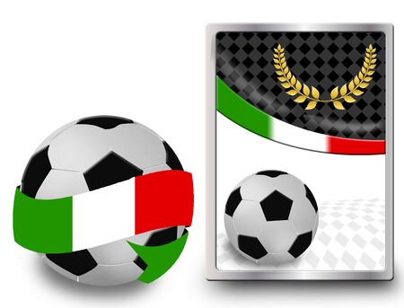 Soccer ball wrapped in ribbon with flag of Italy and web icon, vector illustration Stock Vector - 11881364