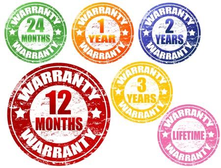 mandate: Set of warranty grunge rubber stamps, vector illustration
