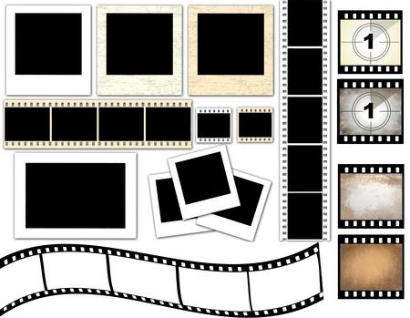 lembo: Illustrazione vettoriale di isolati cornici per foto istantanee e striscia di pellicola
