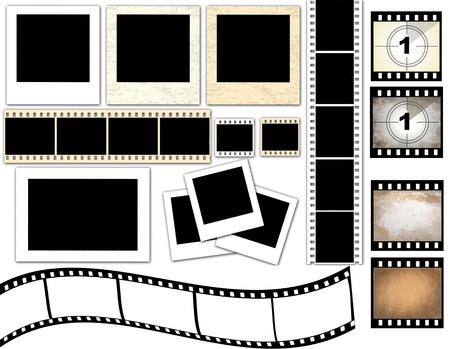 film set: Vector illustration of isolated instant photo frames and film strip