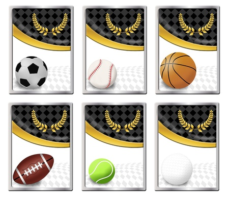 Set of sports balls banners or web icon, vector illustration Vector
