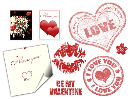 Valentine grunge rubber stamps and symbol on white, vector illustration Vector