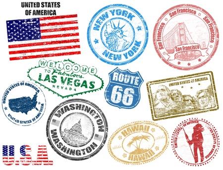 timbre voyage: Jeu de timbres grunge avec les États-Unis d'Amérique, illustration vectorielle Illustration