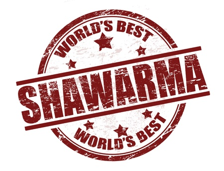 sandwiches: Grunge rubber stamp with the word shawarma written inside the stamp