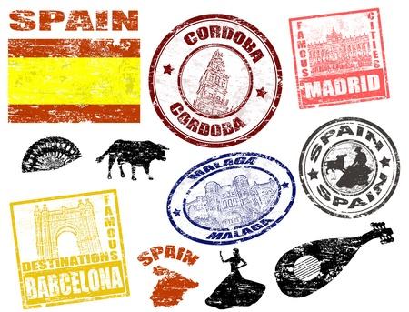 passeport: Lot de timbres grunge avec l'Espagne, illustration vectorielle