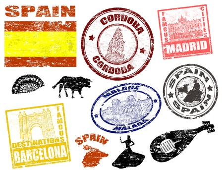 stamp passport: Set of grunge stamps with Spain, vector illustration Illustration
