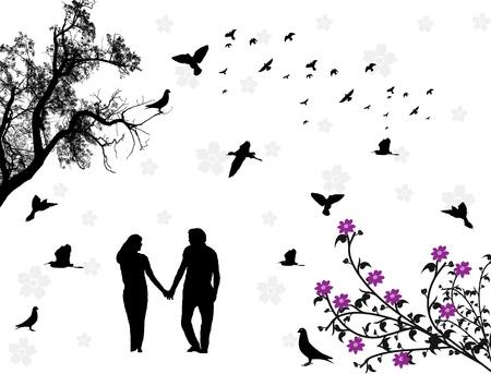 siluetas de enamorados: Pareja en un parque con flores y pájaros. Ilustración vectorial Vectores