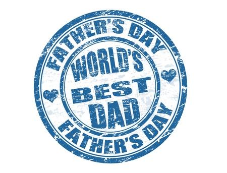 padres: Padre grunge d�as sello de goma con el mundo interior de texto mejor pap�, ilustraci�n vectorial
