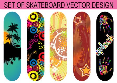 Set of skateboard designs on white background, vector illustration Vector