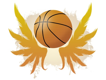 Winged basketball ball on dirty background, vector illustration Vector