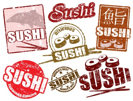 sushi: Set of grunge rubber stamps  with  the word sushi written inside, vector illustration Illustration