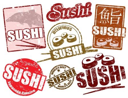 sushi restaurant: Set of grunge rubber stamps  with  the word sushi written inside, vector illustration Illustration