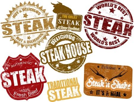 beef steak: Juego de sellos de goma del grunge con la palabra filete escrito en su interior, ilustraci�n vectorial
