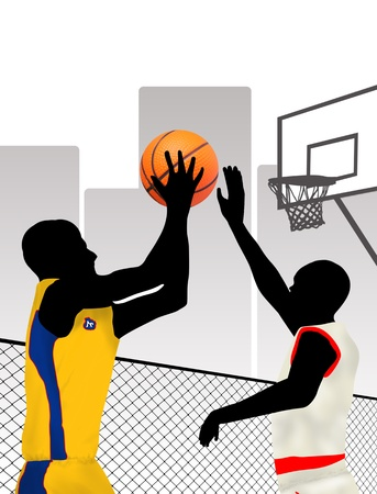 basketball hoop: Basketball players silhouettes on city, vector illustration