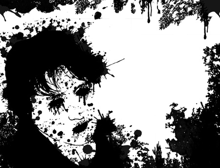 anger abstract: Portrait made out of black ink on white background, vector illustration