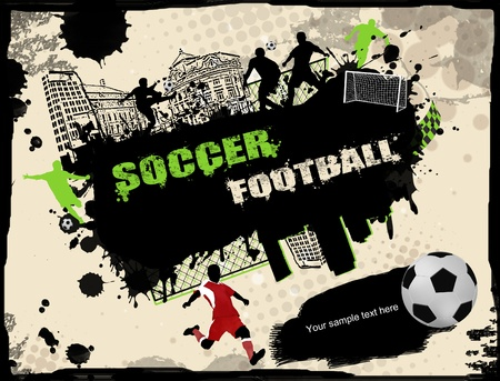 soccer players: Urban grunge soccer background, vector illustration