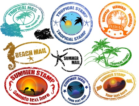 postage stamp frame: Collection of grunge tropical  summer stamps and with place for your text  inside