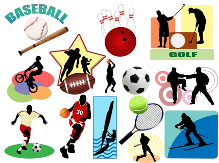 sporting event: Series of sports icons and symbol pictograms. Vector illustration color set for Web.