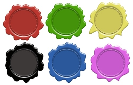 wax glossy: Set of wax seals (gradient only) 6 colors, vector illustration