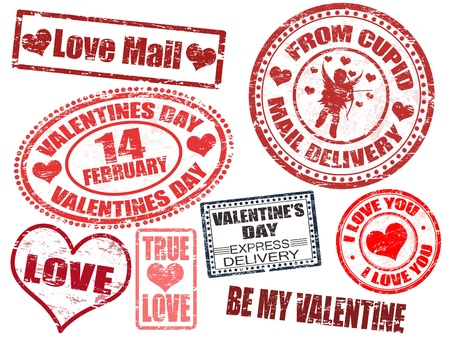 Collection of isolated grunge Valentines Day stamps on white background Vector