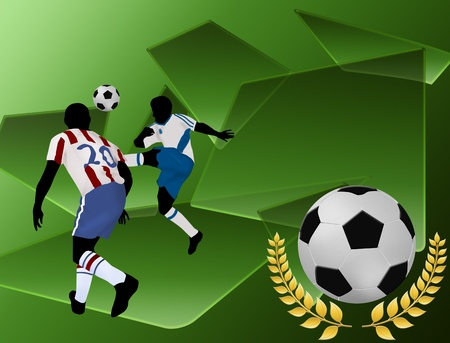 Football players on abstract green background, vector illustration Stock Vector - 12223871