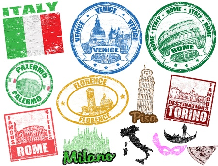 florence   italy: Set of grunge stamps with Italy, vector illustration