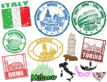 Set van grunge postzegels met Italië, vector illustratie Vector Illustratie