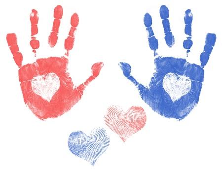 Huella de la mano, hombres y mujeres con un corazón. Amor concepto de huella de la mano, ilustración vectorial