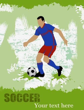 Soccer player on grunge poster background, vector illustration Vector