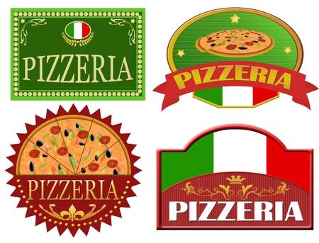 Set of pizzeria labels design on white, vector illustration Vector