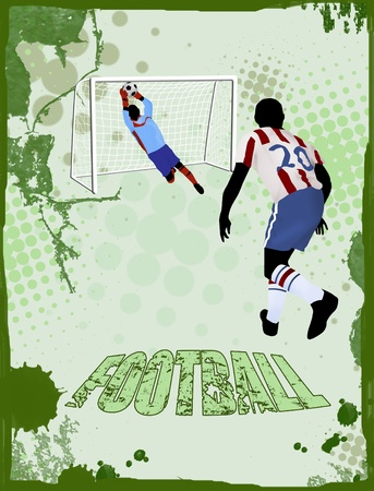 sporting event: Action football players on grunge poster, vector illustration Illustration