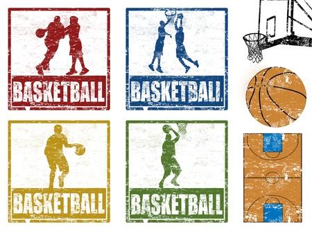 baloncesto: Juego de sello de goma del grunge con los jugadores de baloncesto, ilustraci�n vectorial