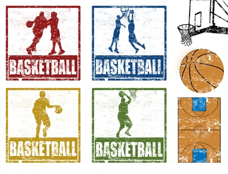 international basketball: Set of grunge rubber stamp with basketball players, vector illustration Illustration