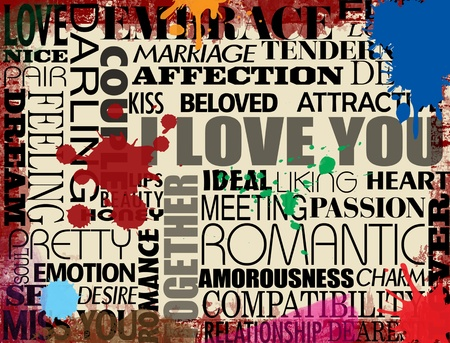 Collage with various love words on grunge background, vector illustration Stock Vector - 12223876
