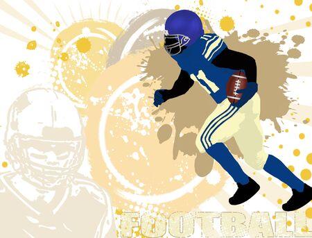 voetbal silhouet: Grunge american football poster achtergrond, vector illustratie