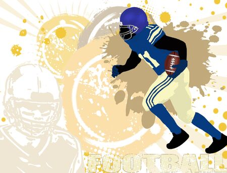football kick: Grunge american football poster background, vector illustration