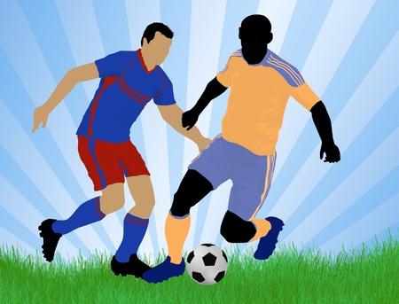 opponent: Soccer player attack gate of the opponent, vector illustration