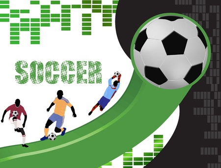 Soccer poster background with players silhouette, vector illustration Vector