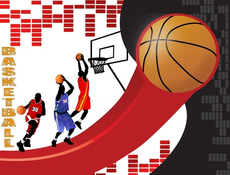 international basketball: Basketball poster background with players silhouette, vector illustration Illustration