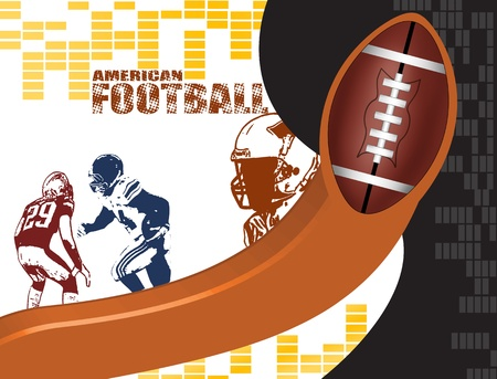 american football stadium: American football poster background with players silhouette, vector illustration Illustration