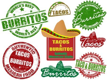 mexican food: Juego de sellos de goma del grunge con los tacos y burritos palabras escritas en el interior, ilustraci�n vectorial Vectores
