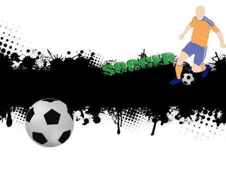 Grunge soccer poster with ball and player,vector illustration Stock Vector - 12483018
