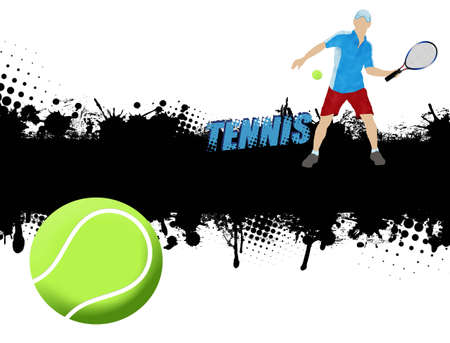 Grunge tennis poster with player and ball,vector illustration Vector
