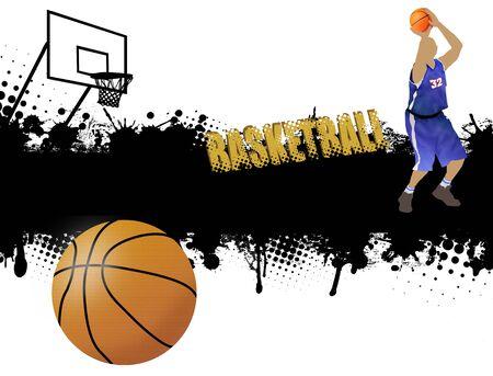 basket ball: Grunge basketball poster with player and ball,vector illustration Illustration