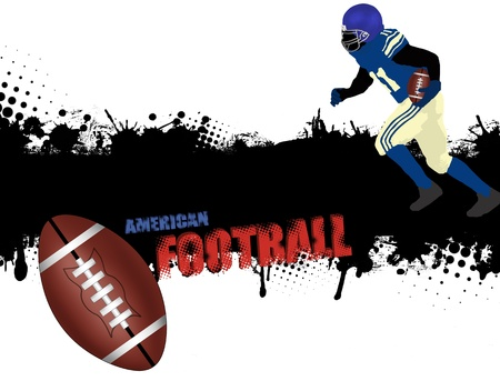 bleed: Grunge american football poster with player and ball,vector illustration