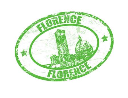timbre voyage: Tampon en caoutchouc grunge avec le mot de Florence à l'intérieur, illustration vectorielle Illustration